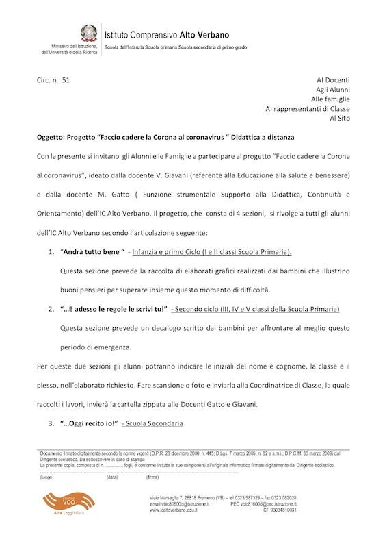 Cir N 51 Progetto Faccio Cadere La Corona Al Coronavirus Didattica A Distanza Www Icaltoverbano Edu It